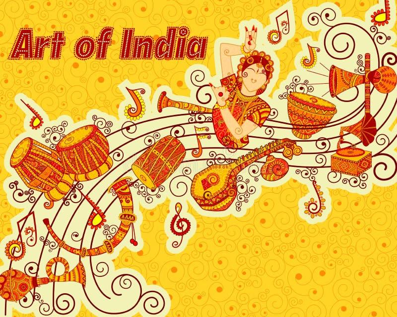 Vectorontwerp van kunst en muziek India stock afbeeldingen