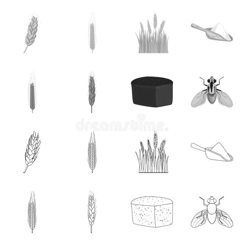 Vectorontwerp van landbouw en de landbouwembleem Inzameling van landbouw en het symbool van de installatievoorraad voor Web vector illustratie