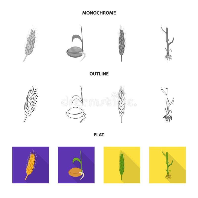 Vectorontwerp van landbouw en de landbouwpictogram Reeks van landbouw en de vectorillustratie van de installatievoorraad royalty-vrije illustratie