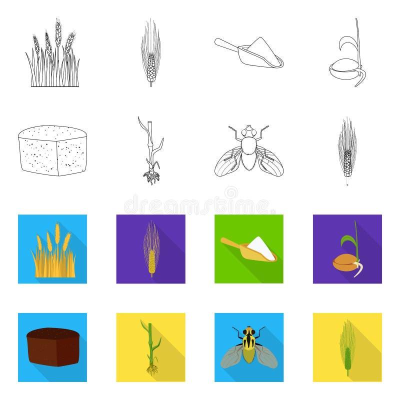 Vectorontwerp van landbouw en de landbouwpictogram Reeks van landbouw en de vectorillustratie van de installatievoorraad stock illustratie