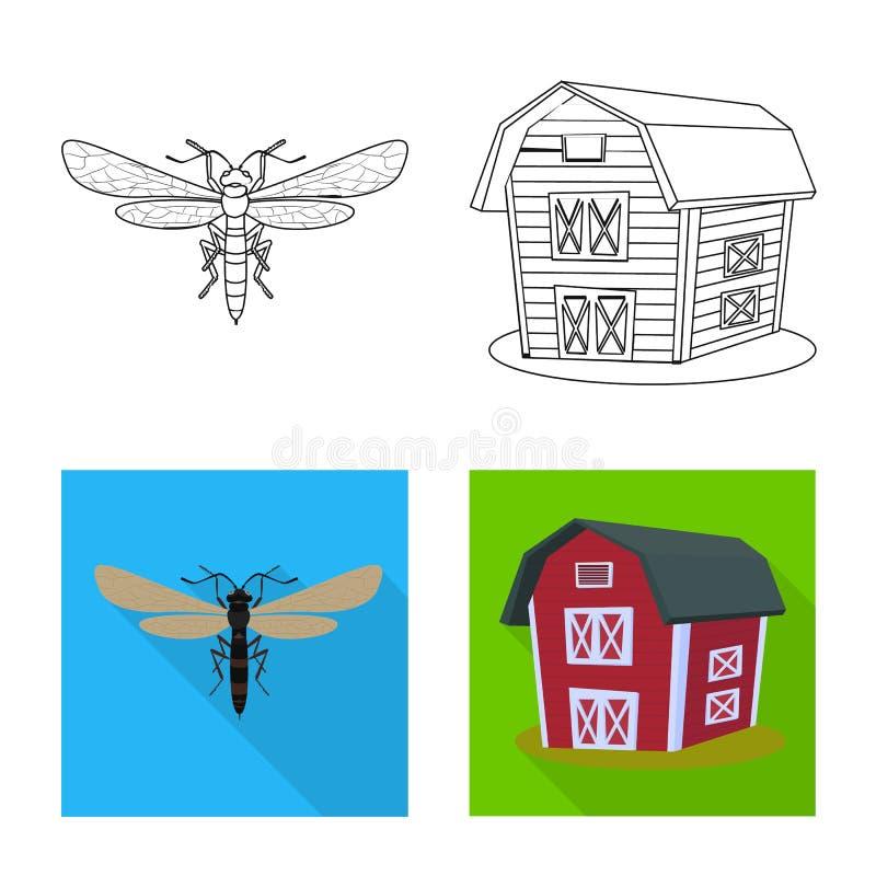 Vectorontwerp van landbouw en de landbouwsymbool Inzameling van landbouw en installatie vectorpictogram voor voorraad vector illustratie