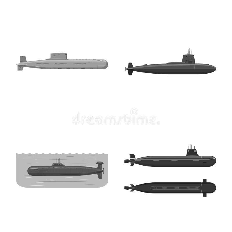 Vectorontwerp van leger en diep embleem Inzameling van leger en kernvoorraadsymbool voor Web vector illustratie