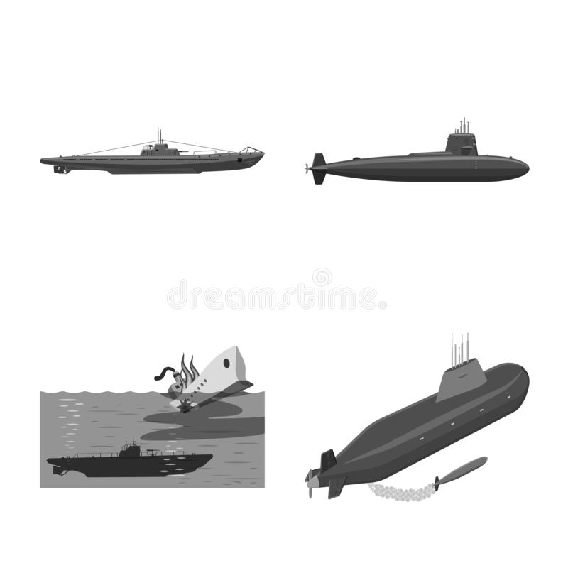 Vectorontwerp van leger en diep symbool Reeks van leger en kernvoorraadsymbool voor Web stock illustratie