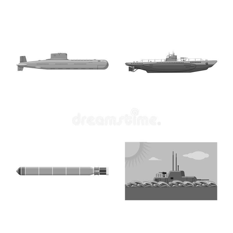Vectorontwerp van leger en diep teken Inzameling van leger en kernvoorraad vectorillustratie stock illustratie