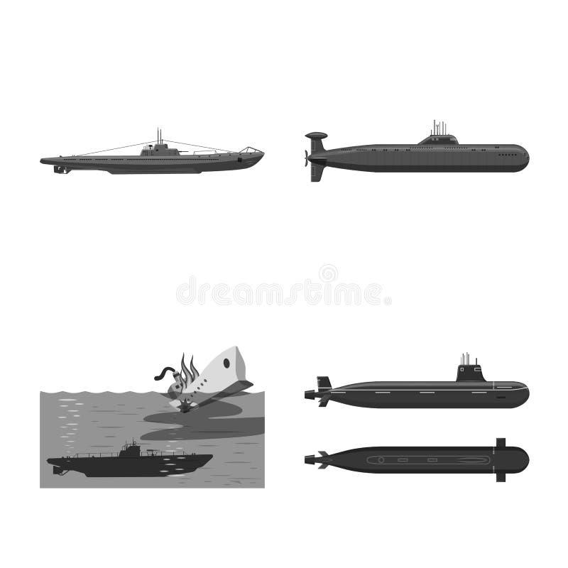 Vectorontwerp van leger en diep teken Reeks van leger en kernvoorraadsymbool voor Web stock illustratie