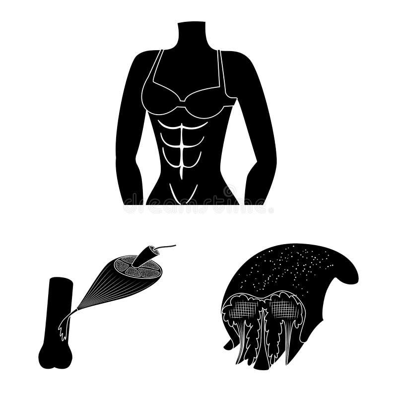 Vectorontwerp van mens en lichaamsteken Reeks van mens en van de cellenvoorraad vectorillustratie vector illustratie