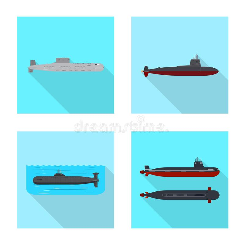 Vectorontwerp van militair en kernembleem Reeks van de vectorillustratie van de militaire en schipvoorraad royalty-vrije illustratie