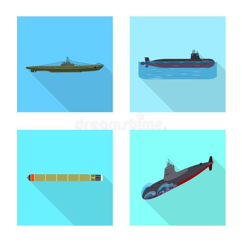 Vectorontwerp van militair en kernpictogram Inzameling van het symbool van de militaire en schipvoorraad voor Web vector illustratie