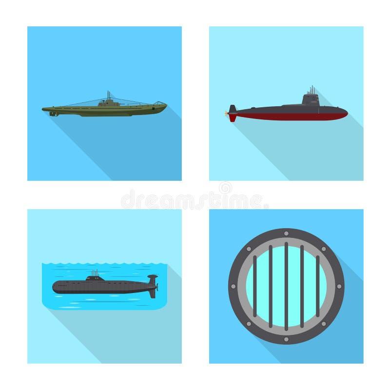 Vectorontwerp van militair en kernsymbool Inzameling van de vectorillustratie van de militaire en schipvoorraad royalty-vrije illustratie