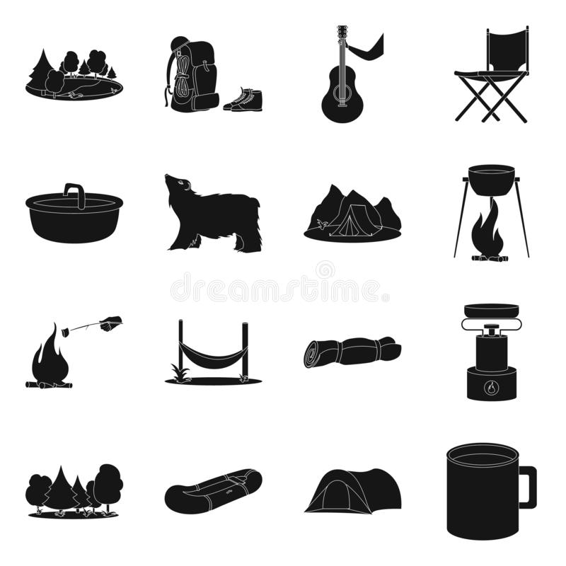 Vectorontwerp van ontspanning en rust pictogram Reeks van ontspanning en avonturenvoorraadsymbool voor Web royalty-vrije illustratie