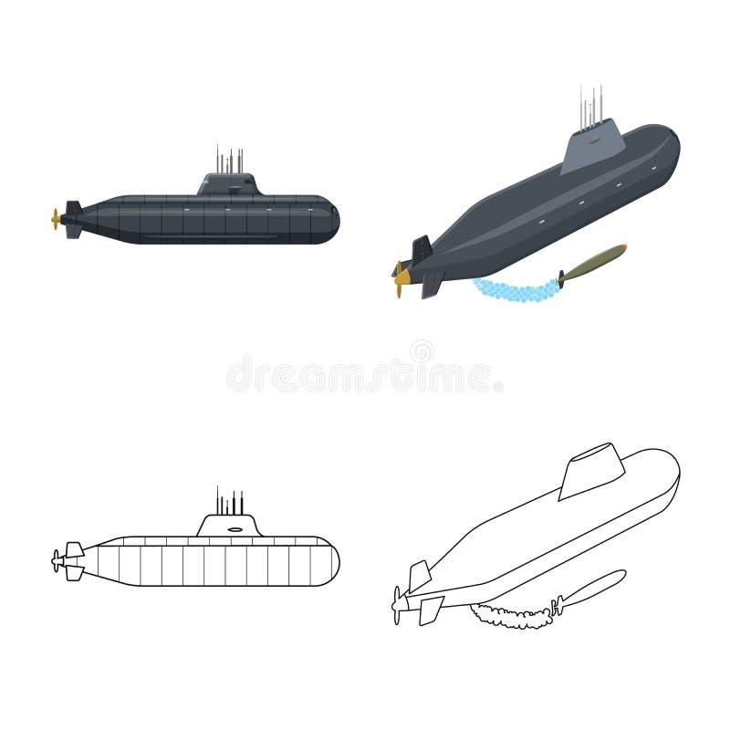 Vectorontwerp van oorlog en schipembleem Inzameling van oorlog en de vectorillustratie van de vlootvoorraad vector illustratie