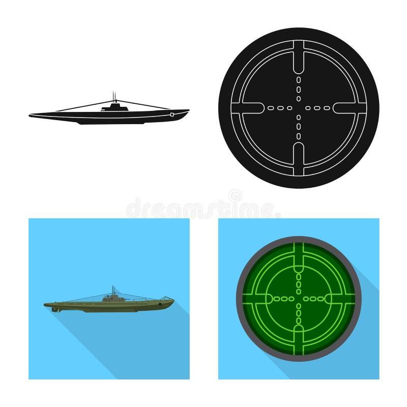Vectorontwerp van oorlog en schipembleem Inzameling van oorlog en het symbool van de vlootvoorraad voor Web stock illustratie