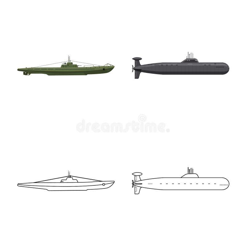 Vectorontwerp van oorlog en schipembleem Inzameling van oorlog en het symbool van de vlootvoorraad voor Web vector illustratie