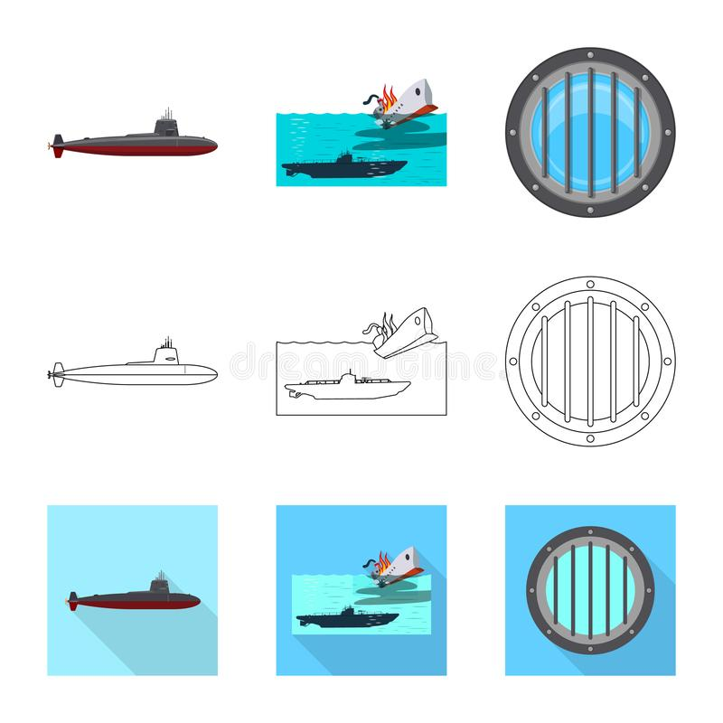 Vectorontwerp van oorlog en schipembleem Inzameling van oorlog en het symbool van de vlootvoorraad voor Web royalty-vrije illustratie