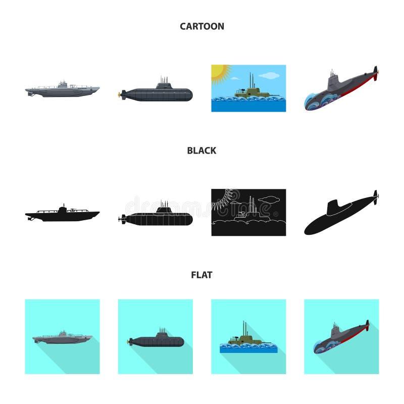 Vectorontwerp van oorlog en schipembleem Inzameling van oorlog en vloot vectorpictogram voor voorraad vector illustratie
