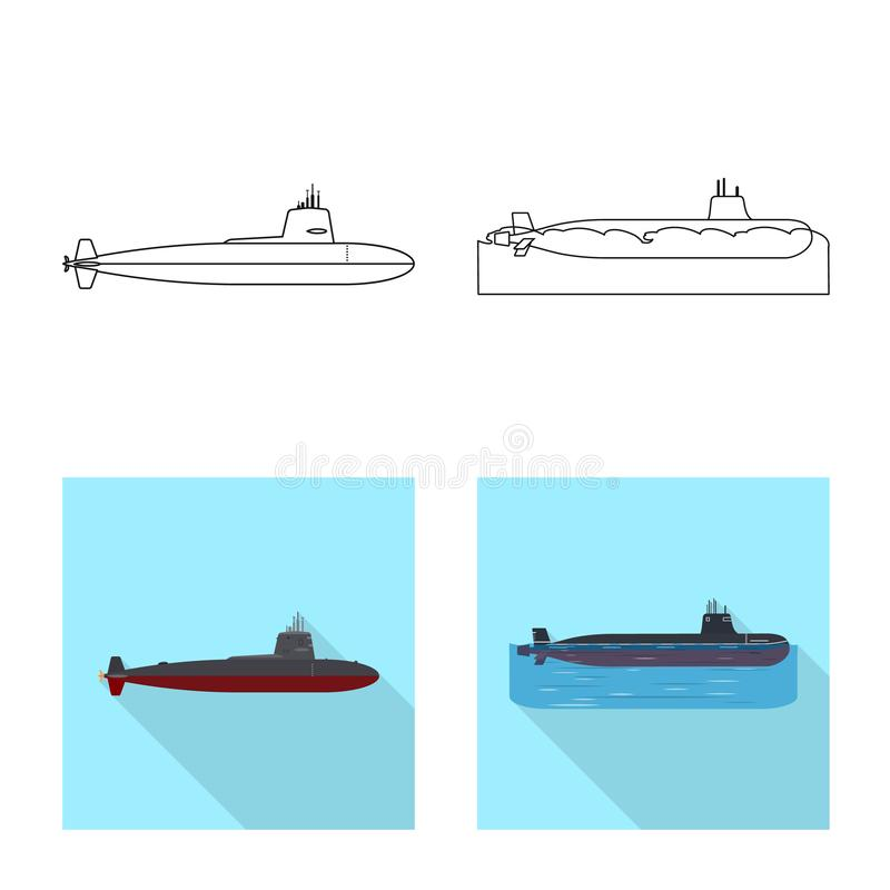 Vectorontwerp van oorlog en schipembleem Reeks van oorlog en het symbool van de vlootvoorraad voor Web royalty-vrije illustratie