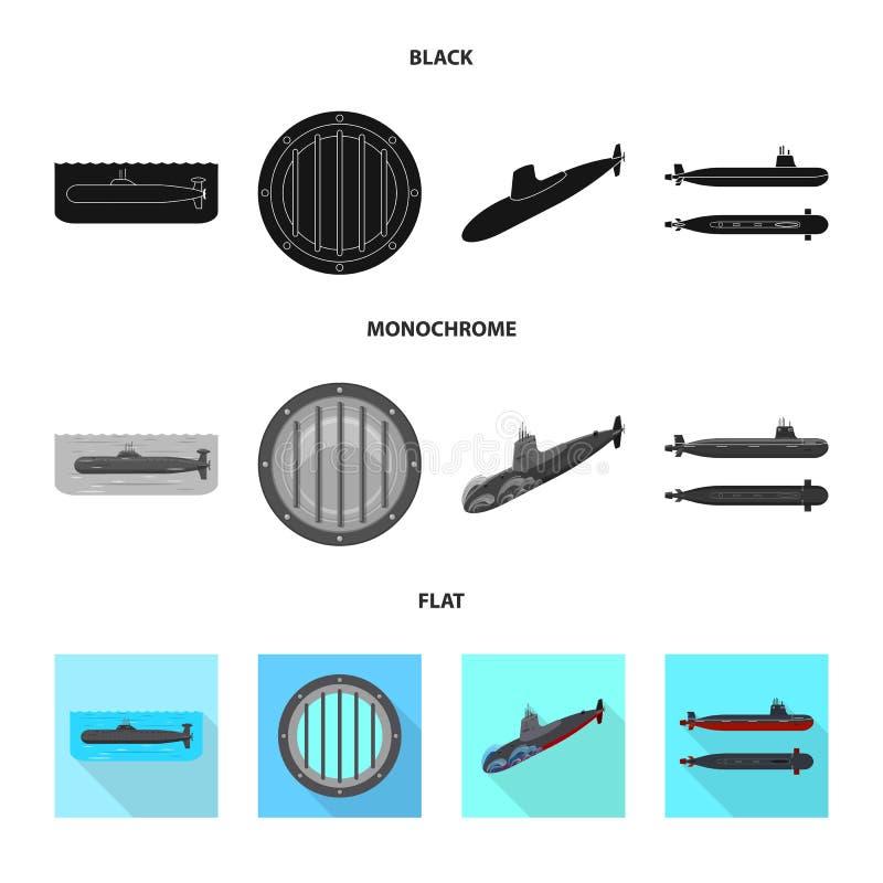 Vectorontwerp van oorlog en schipembleem Reeks van oorlog en het symbool van de vlootvoorraad voor Web vector illustratie