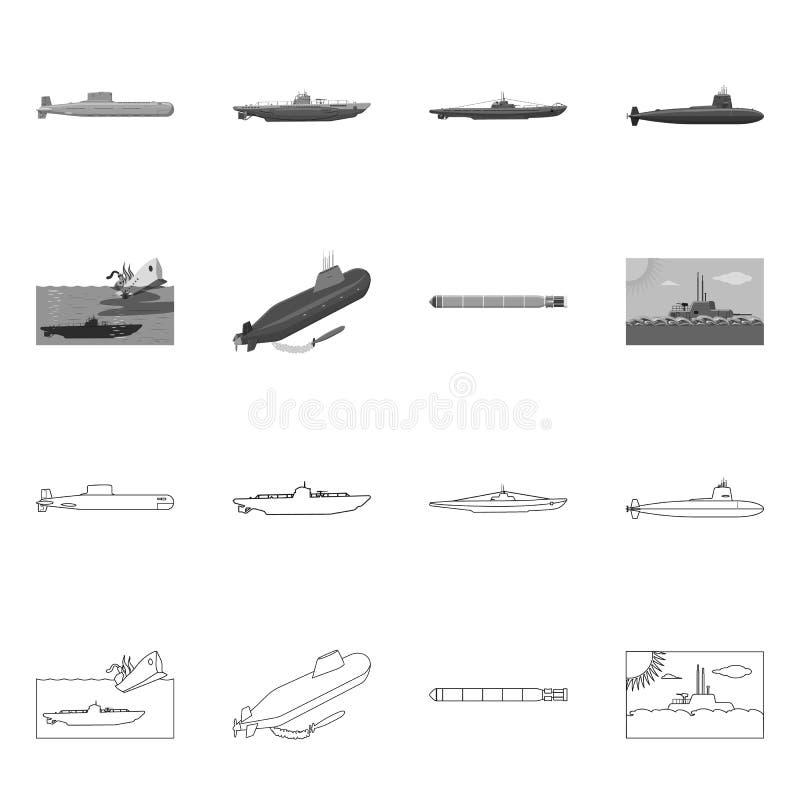 Vectorontwerp van oorlog en schipembleem Reeks van oorlog en het symbool van de vlootvoorraad voor Web stock illustratie