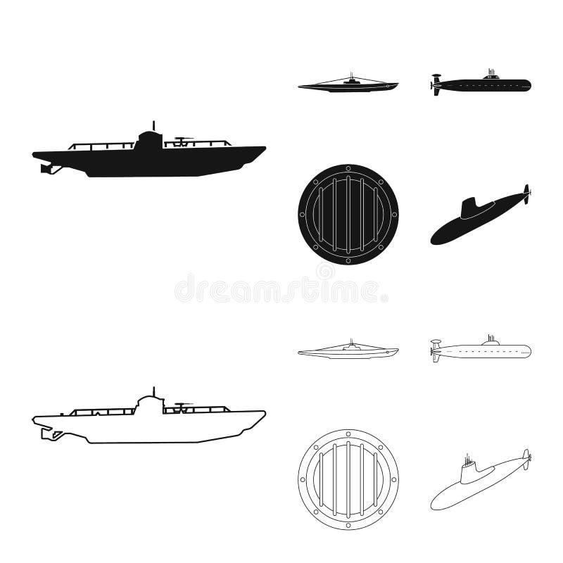 Vectorontwerp van oorlog en schippictogram Inzameling van oorlog en de vectorillustratie van de vlootvoorraad stock illustratie
