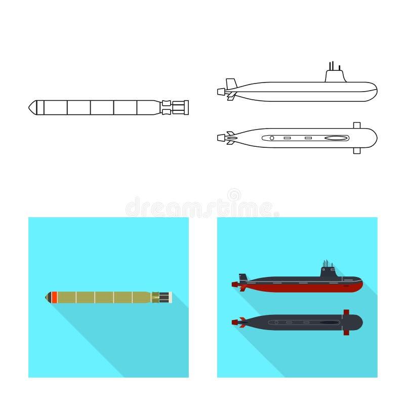 Vectorontwerp van oorlog en schippictogram Inzameling van oorlog en het symbool van de vlootvoorraad voor Web royalty-vrije illustratie