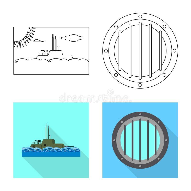 Vectorontwerp van oorlog en schippictogram Inzameling van oorlog en vloot vectorpictogram voor voorraad stock illustratie