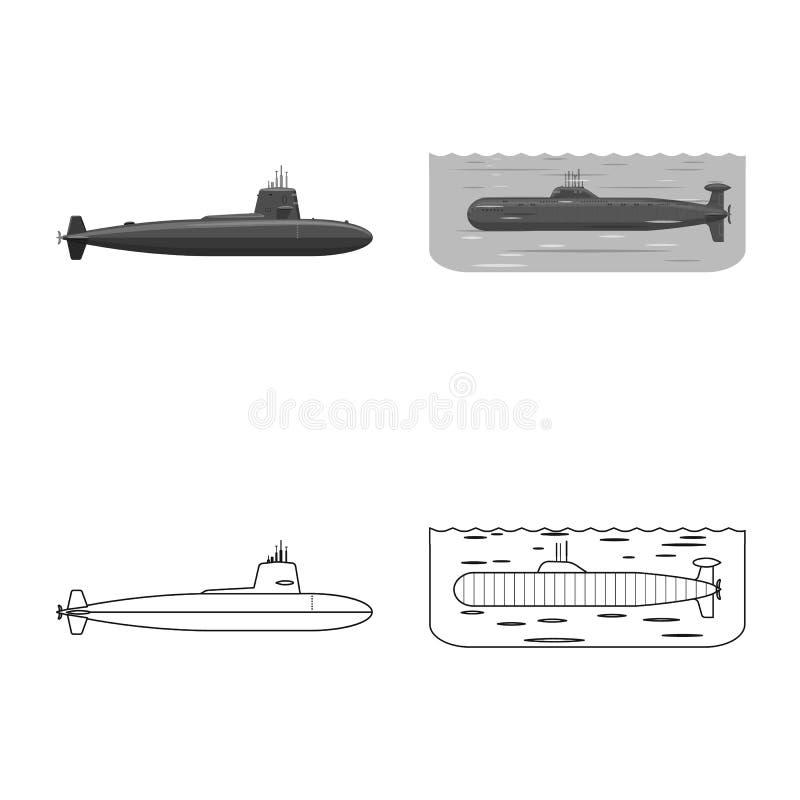 Vectorontwerp van oorlog en schippictogram Reeks van oorlog en de vectorillustratie van de vlootvoorraad stock illustratie