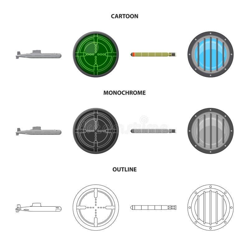 Vectorontwerp van oorlog en schippictogram Reeks van oorlog en het symbool van de vlootvoorraad voor Web stock illustratie