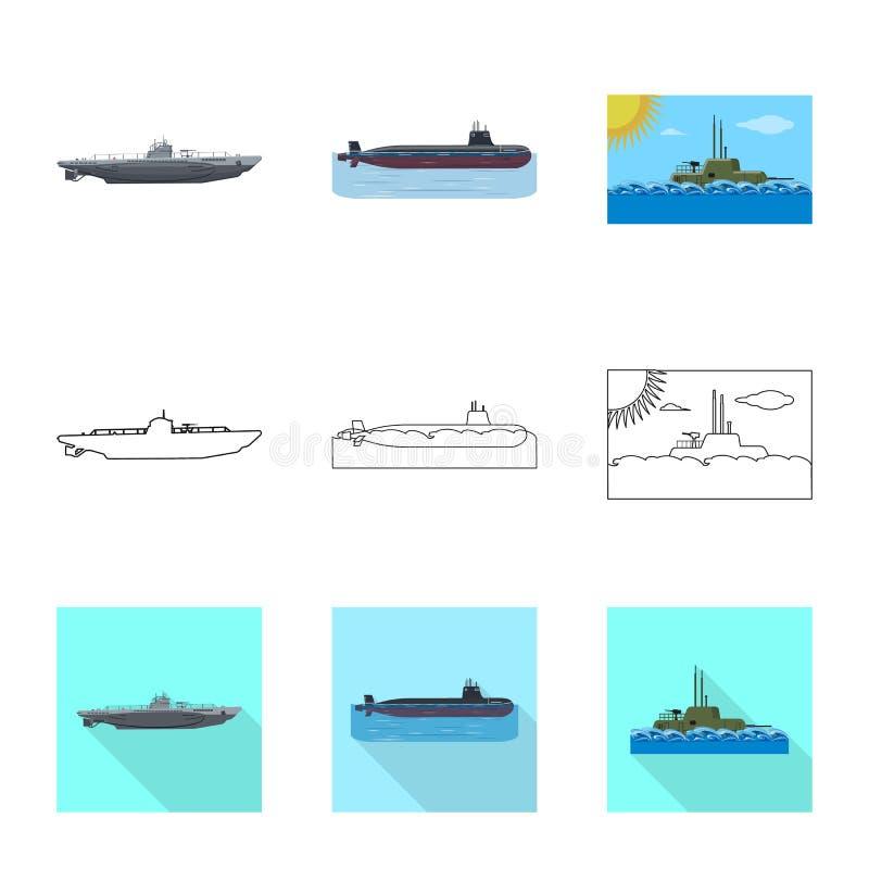 Vectorontwerp van oorlog en schippictogram Reeks van oorlog en het symbool van de vlootvoorraad voor Web vector illustratie