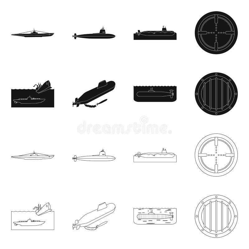Vectorontwerp van oorlog en schippictogram Reeks van oorlog en vloot vectorpictogram voor voorraad stock illustratie