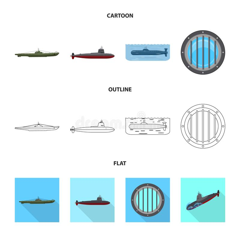 Vectorontwerp van oorlog en schipsymbool Inzameling van oorlog en de vectorillustratie van de vlootvoorraad royalty-vrije illustratie
