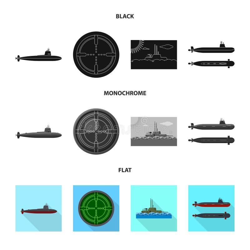 Vectorontwerp van oorlog en schipsymbool Inzameling van oorlog en het symbool van de vlootvoorraad voor Web stock illustratie