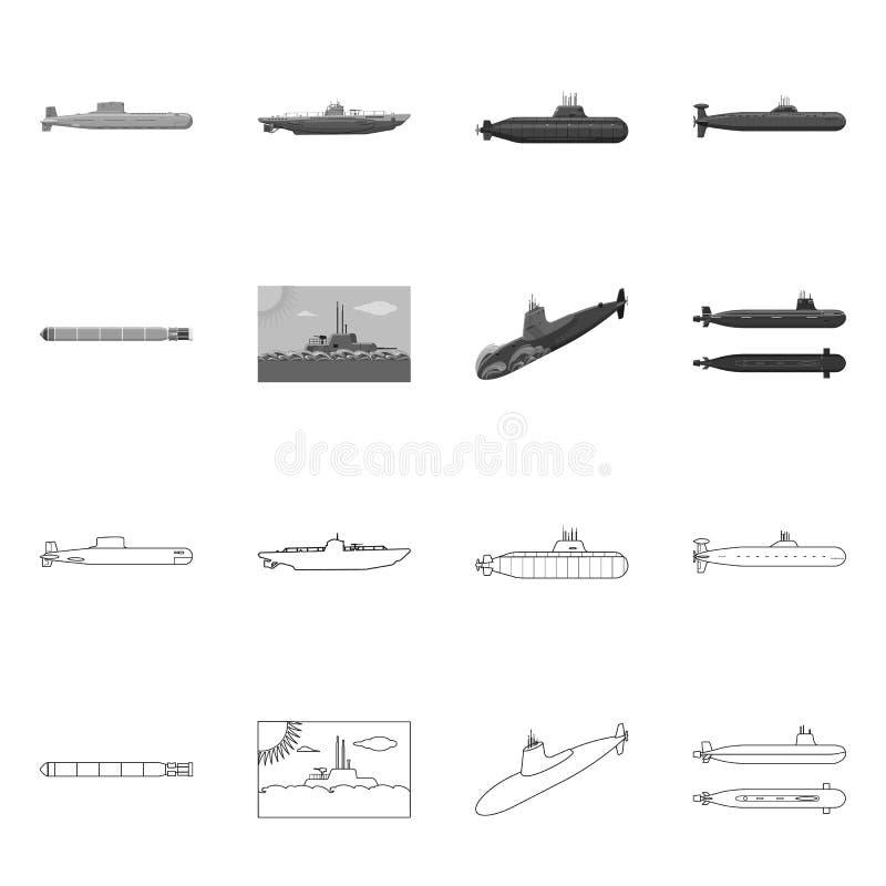 Vectorontwerp van oorlog en schipsymbool Inzameling van oorlog en het symbool van de vlootvoorraad voor Web vector illustratie
