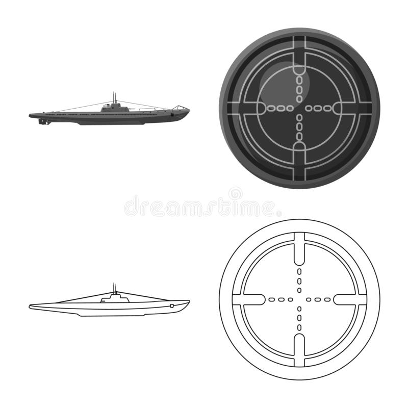 Vectorontwerp van oorlog en schipsymbool Inzameling van oorlog en vloot vectorpictogram voor voorraad stock illustratie