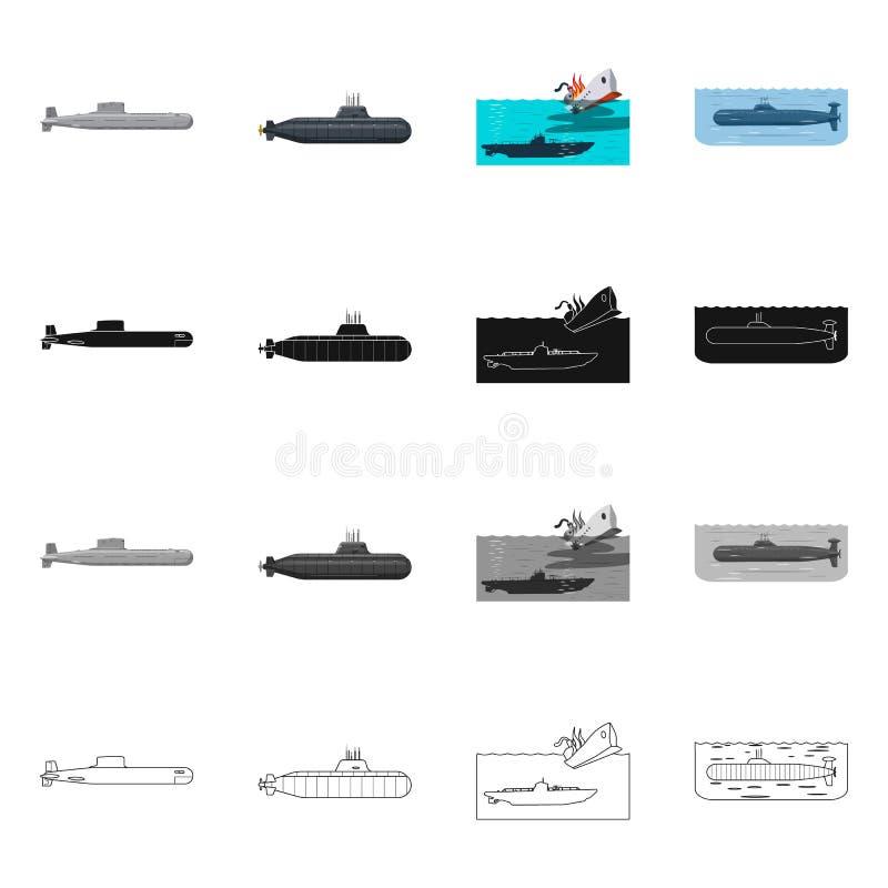Vectorontwerp van oorlog en schipsymbool Reeks van oorlog en vloot vectorpictogram voor voorraad vector illustratie