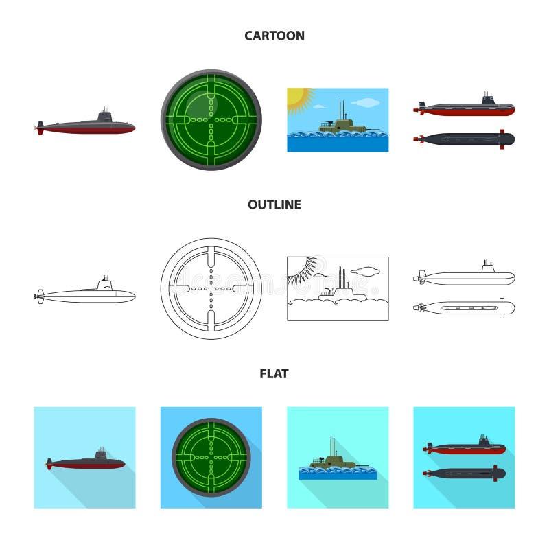 Vectorontwerp van oorlog en schipsymbool Reeks van oorlog en vloot vectorpictogram voor voorraad stock illustratie