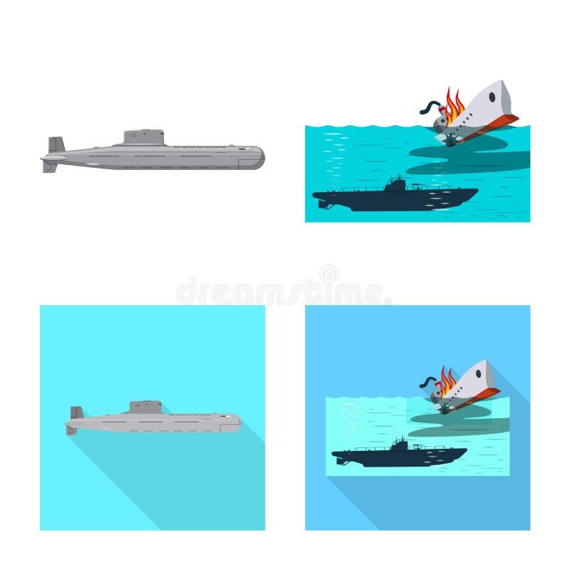 Vectorontwerp van oorlog en schipsymbool Reeks van oorlog en vloot vectorpictogram voor voorraad royalty-vrije illustratie