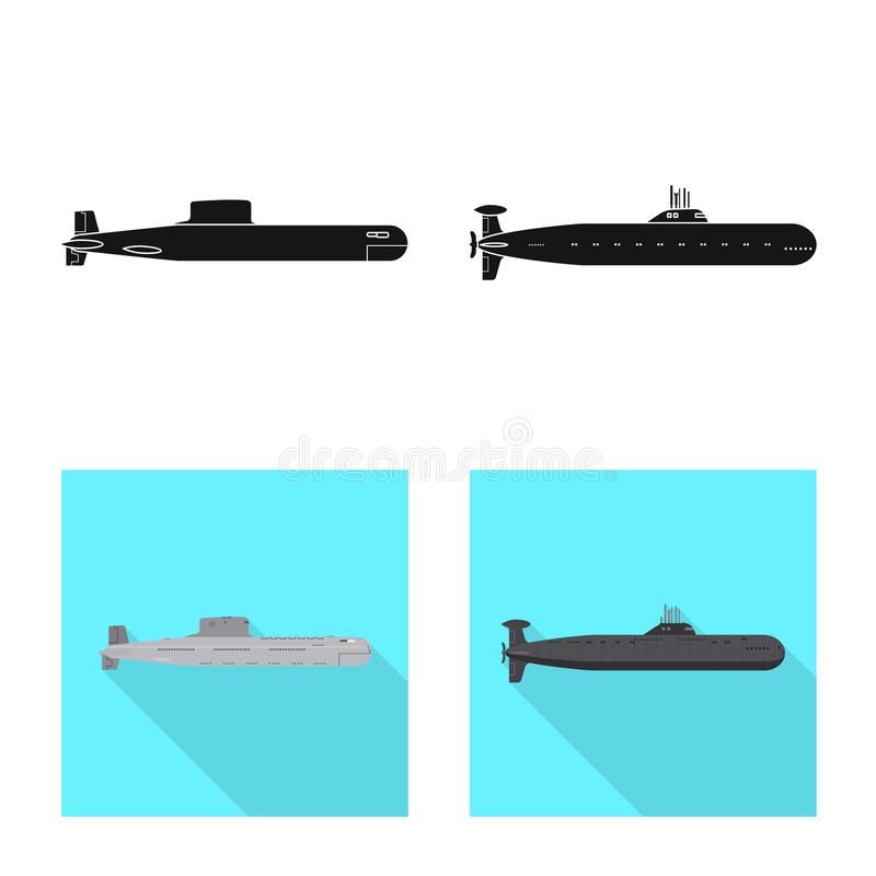Vectorontwerp van oorlog en schipteken Inzameling van oorlog en de vectorillustratie van de vlootvoorraad stock illustratie