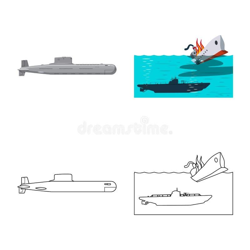 Vectorontwerp van oorlog en schipteken Inzameling van oorlog en het symbool van de vlootvoorraad voor Web vector illustratie