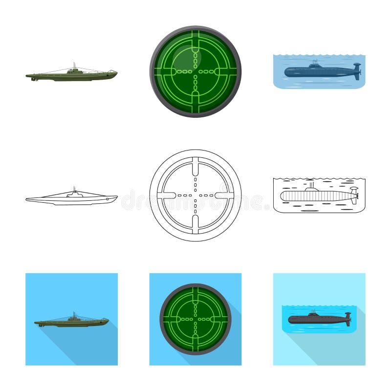 Vectorontwerp van oorlog en schipteken Inzameling van oorlog en vloot vectorpictogram voor voorraad vector illustratie
