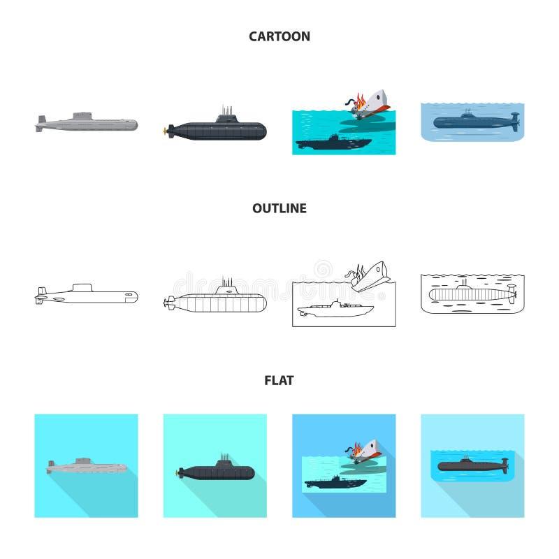 Vectorontwerp van oorlog en schipteken Reeks van oorlog en de vectorillustratie van de vlootvoorraad vector illustratie