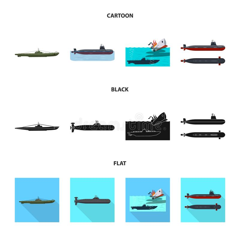 Vectorontwerp van oorlog en schipteken Reeks van oorlog en de vectorillustratie van de vlootvoorraad royalty-vrije illustratie