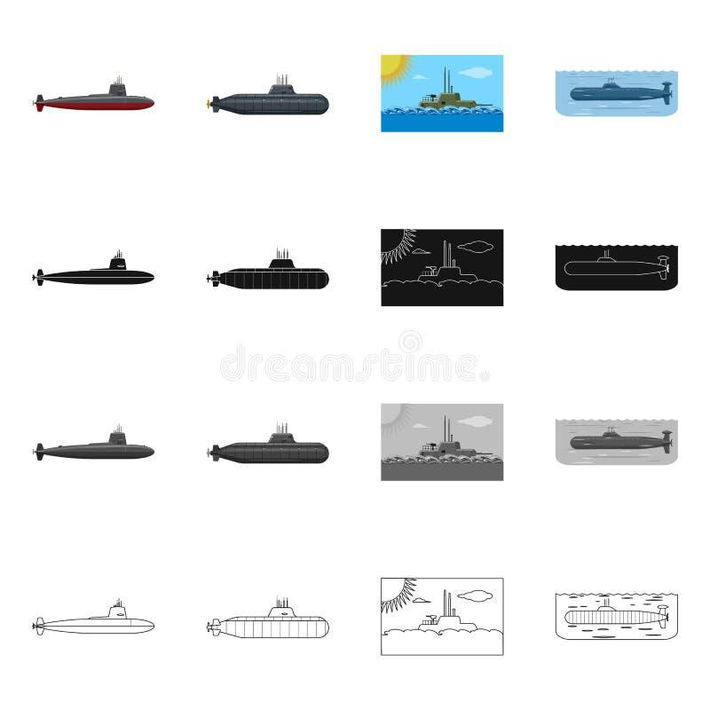 Vectorontwerp van oorlog en schipteken Reeks van oorlog en vloot vectorpictogram voor voorraad stock illustratie
