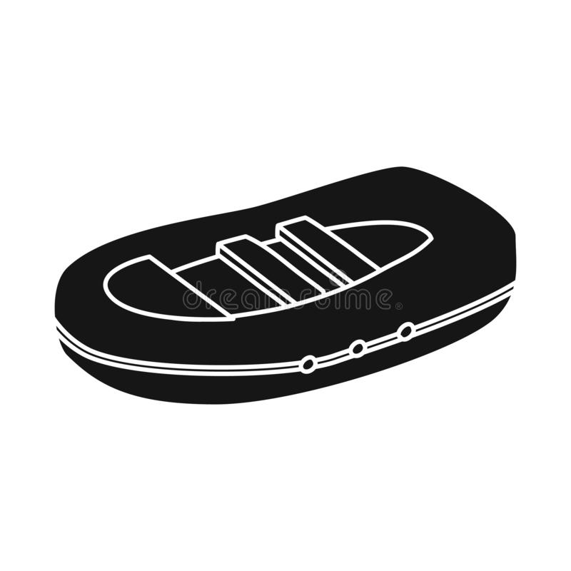 Vectorontwerp van opblaasbaar en bootsymbool Inzameling van opblaasbaar en water vectorpictogram voor voorraad stock illustratie