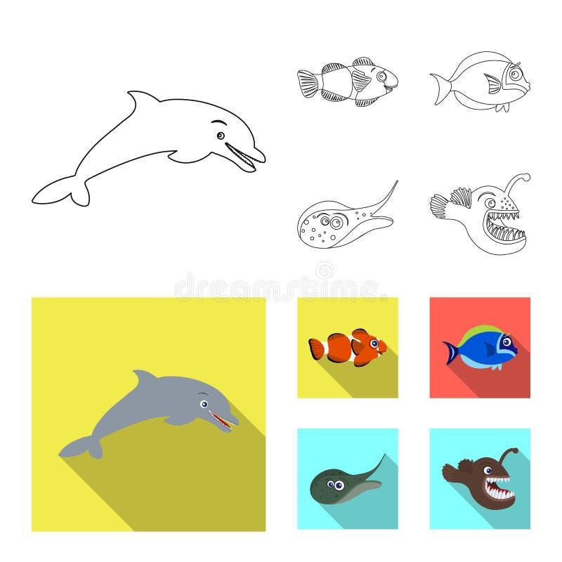 Vectorontwerp van overzees en dierlijk symbool Reeks van overzees en marien voorraadsymbool voor Web royalty-vrije illustratie