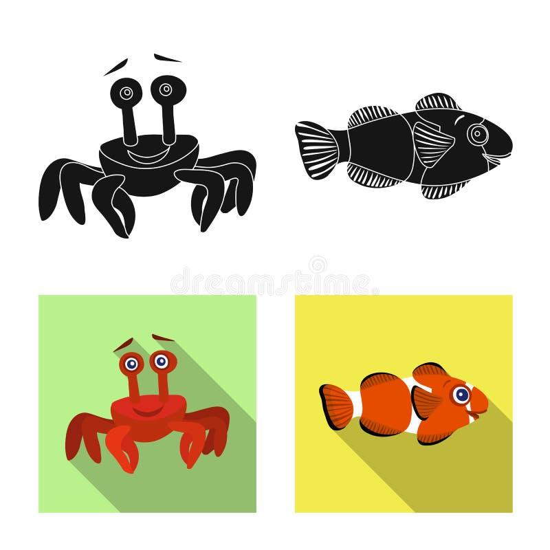 Vectorontwerp van overzees en dierlijk teken Inzameling van overzees en marien vectorpictogram voor voorraad royalty-vrije illustratie