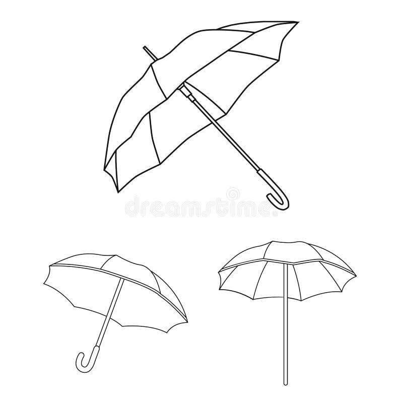 Vectorontwerp van paraplu en wolkenpictogram Inzameling van paraplu en regenvoorraadsymbool voor Web vector illustratie