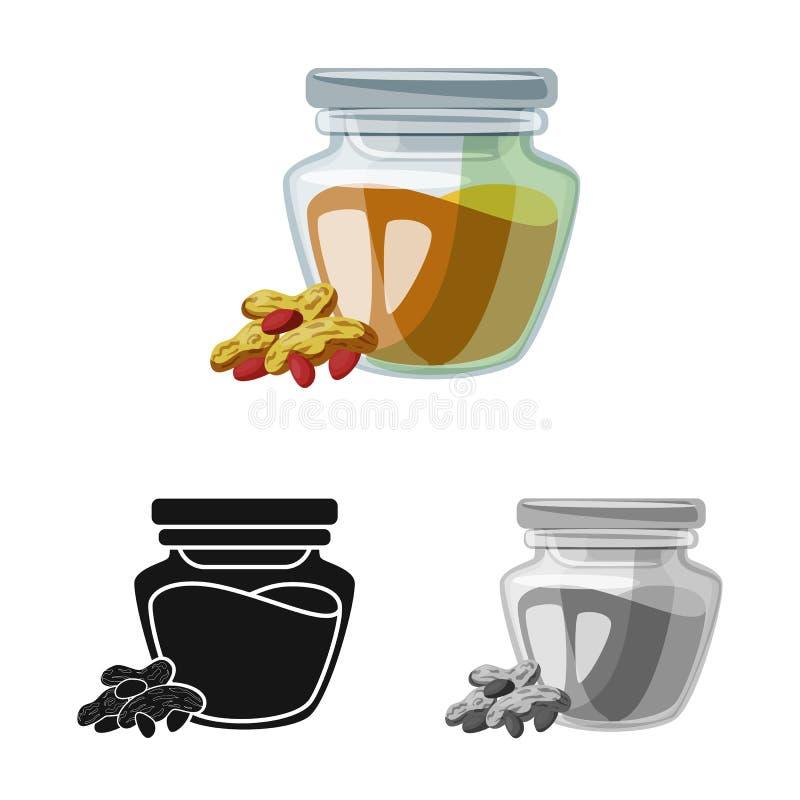 Vectorontwerp van pinda en boterpictogram Reeks van pinda en calciumvoorraad vectorillustratie royalty-vrije illustratie
