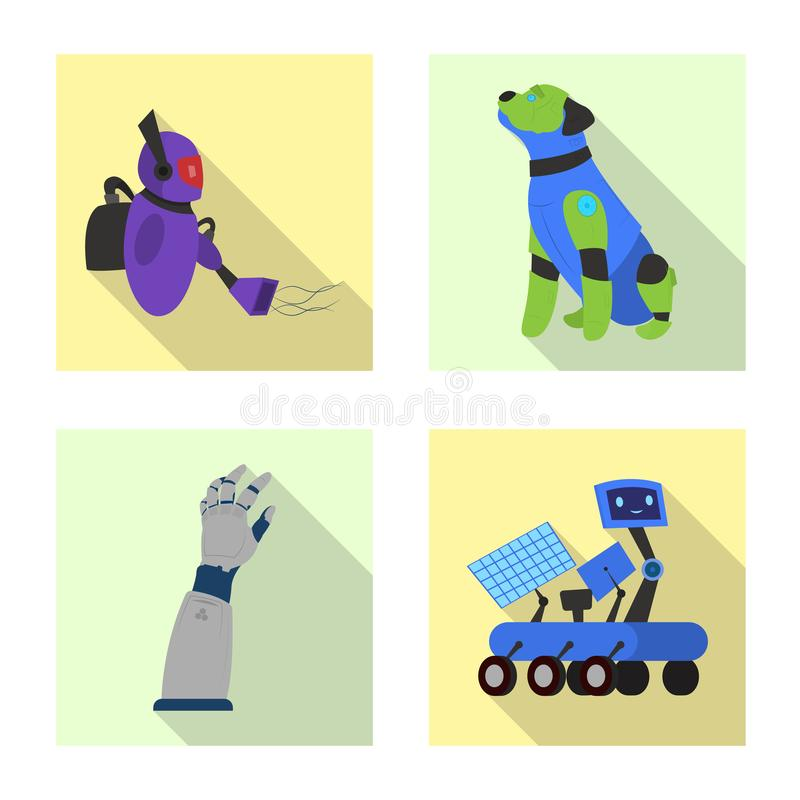 Vectorontwerp van robot en fabrieksteken Reeks van robot en ruimte vectorpictogram voor voorraad vector illustratie