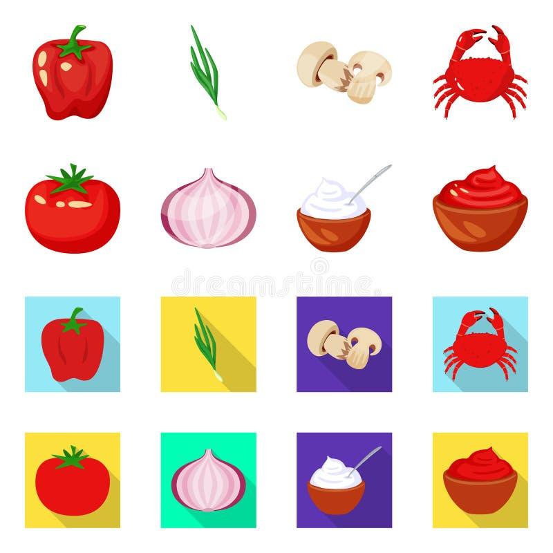 Vectorontwerp van smaak en productembleem Inzameling van smaak en kokende voorraad vectorillustratie vector illustratie