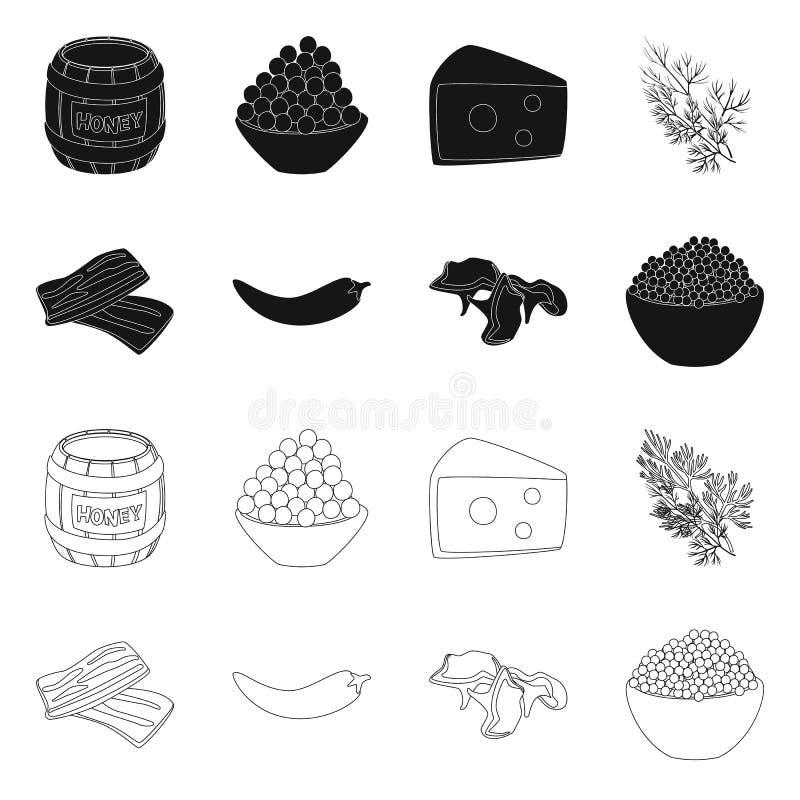 Vectorontwerp van smaak en productsymbool Reeks van smaak en kokend vectorpictogram voor voorraad royalty-vrije illustratie